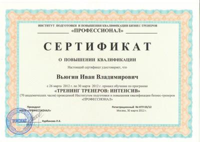 Сертификат. Повышение квалификации: бизнес – тренер. (Москва)