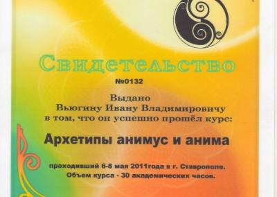 Свидетельство. Курс «Архетипы Анимус и Анима»